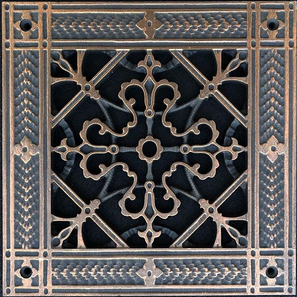 """Decorative grille vent cover in Arts and Crafts Style 6"""" x 6"""""""