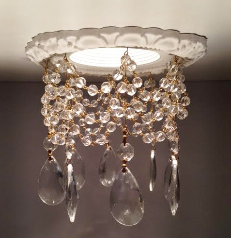 3-3/4″ Victorian Recessed Light Chandelier #RC-301-3-1.5ClearTear