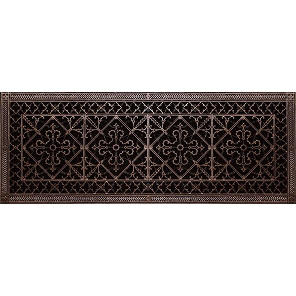 Arts and Crafts decorative grille 12x36 in rubbed bronze