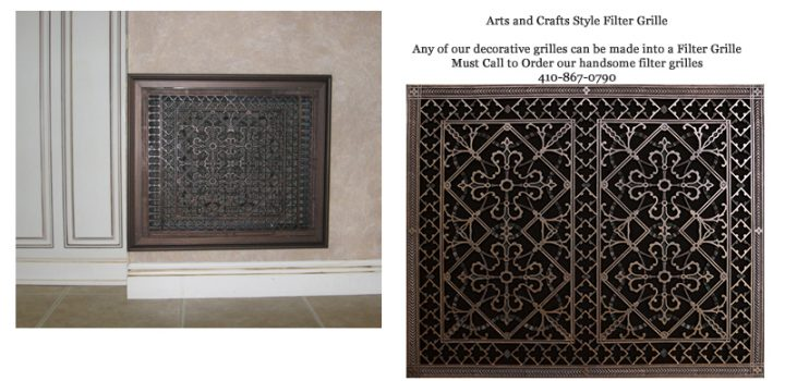 deorative filter grille Arts and Crafts Style
