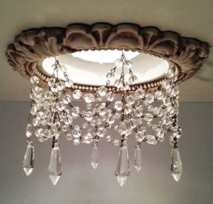 6″ Victorian Recessed Light Chandelier #RC-101-3-1.5ClearUdrop