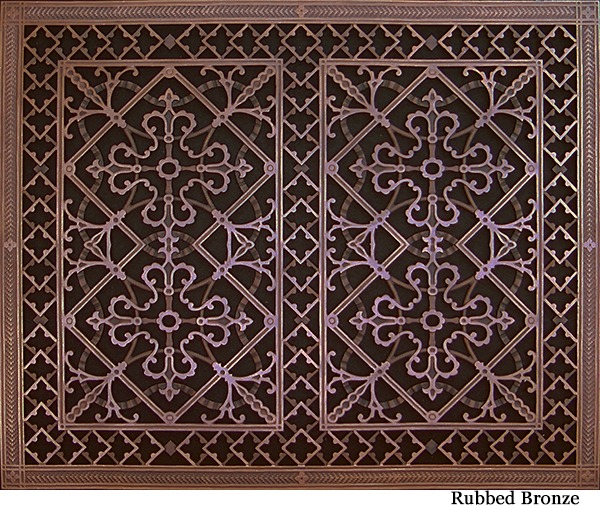 Arts and Crafts decorative vent cover in Rubbed Bronze finish