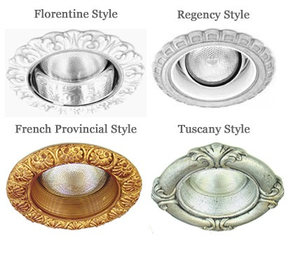 decorative recessed lighting trims in 4 different styles