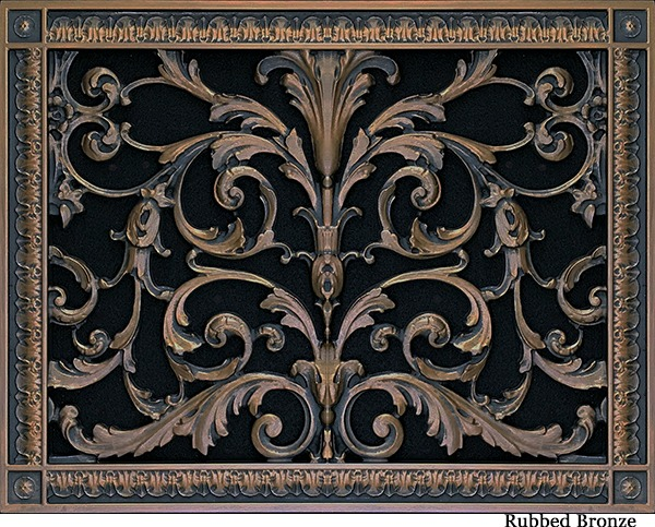 Decorative vent cover in Louis XIV style 12x16 in Rubbed Bronze