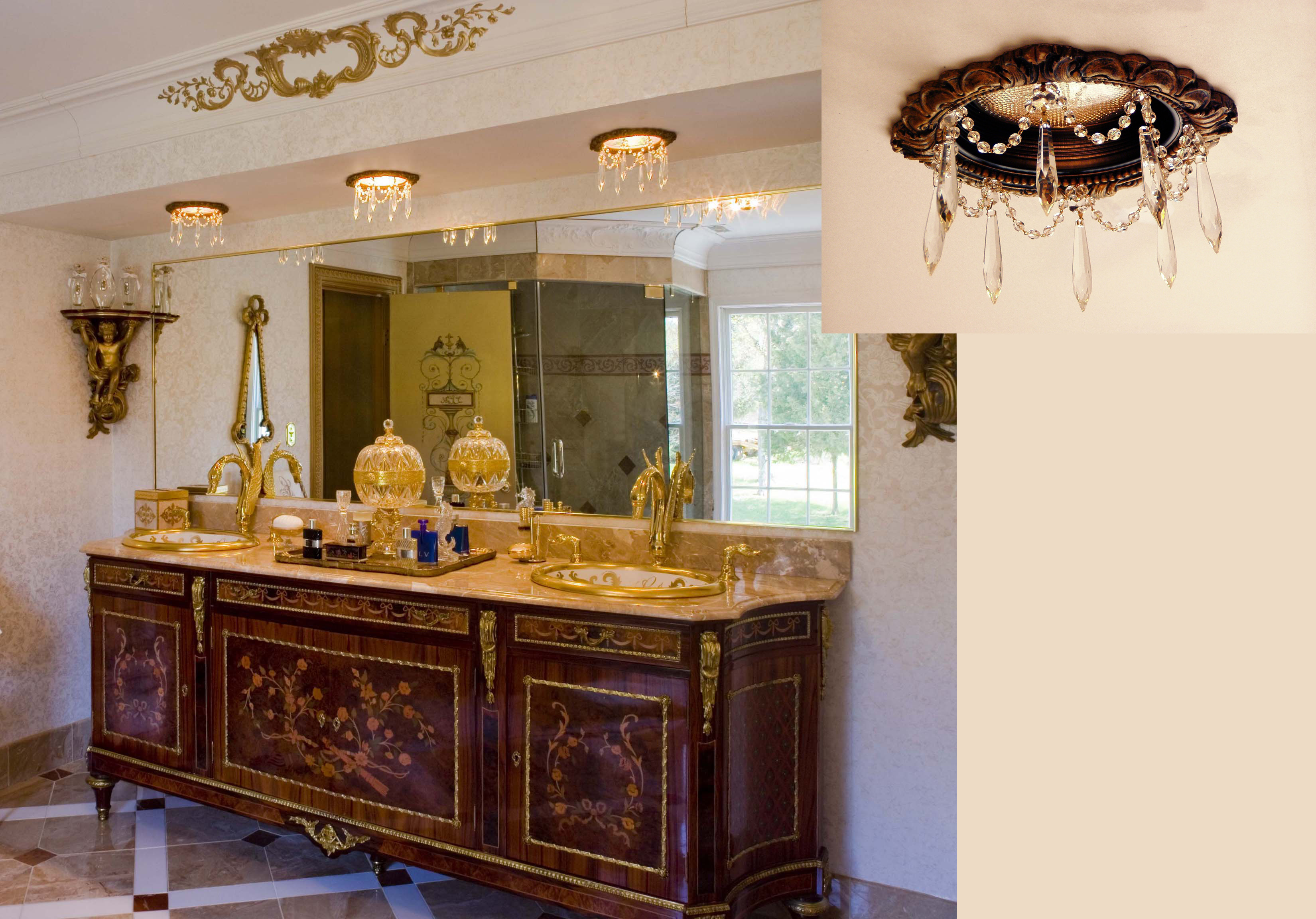 Master Bath vanity with 3 recessed lights embellished with crystals we call our recessed chandeliers.