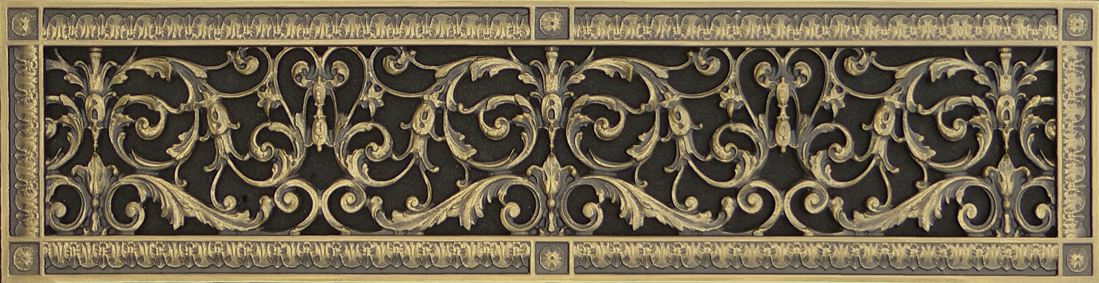Decorative vent cover 6x30 in Louis XIV style in antique brass finish