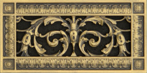 Decorative vent cover in Louis XIV style in antique brass finish
