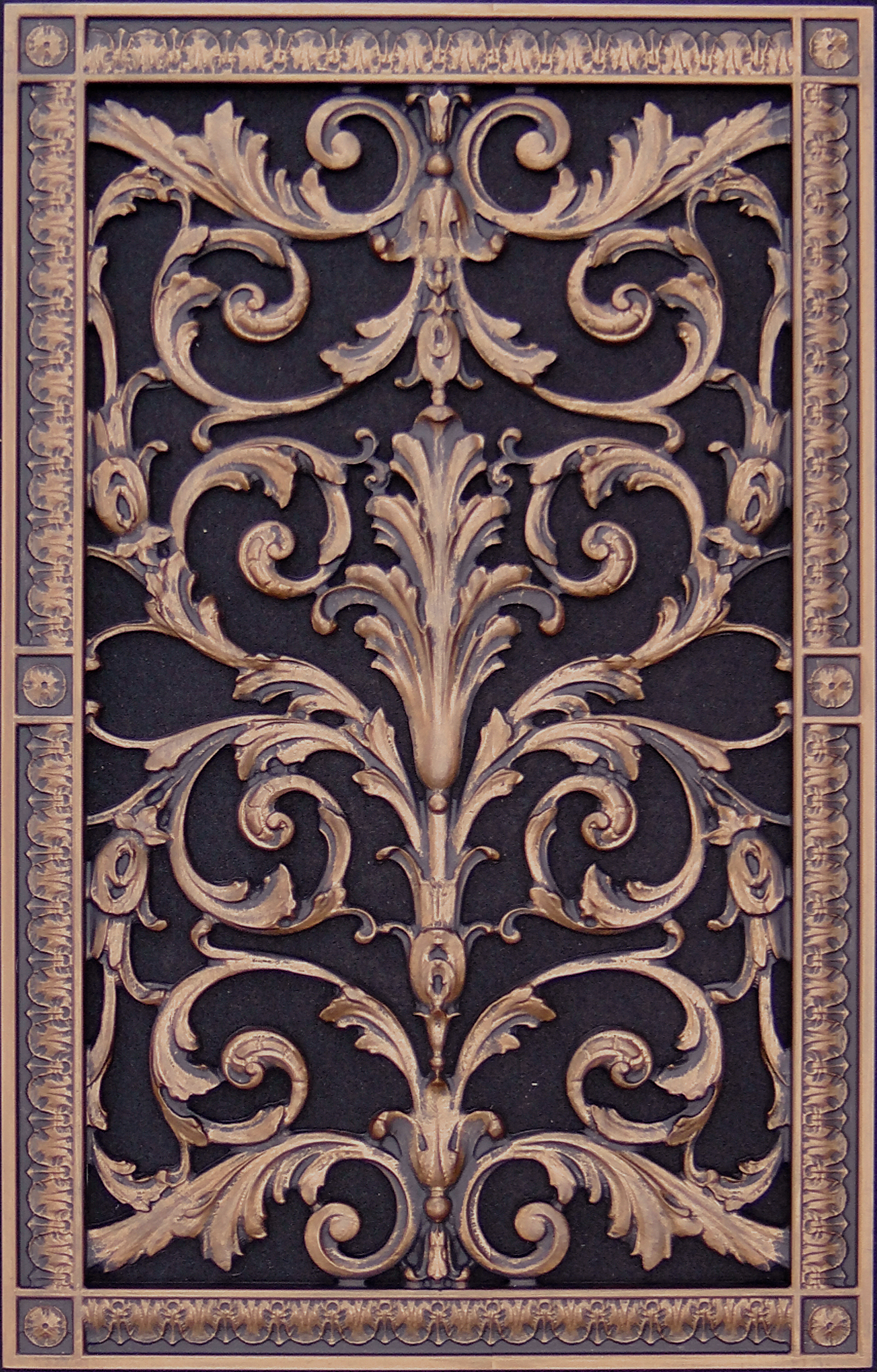 decorative vent cover in Louis XIV style in rubbed bronze