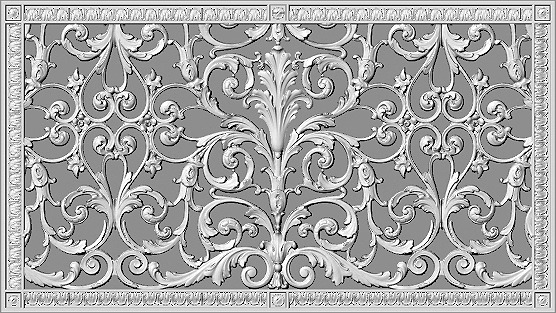 Decorative grille 16x30 in Louis XIV Style Rendering