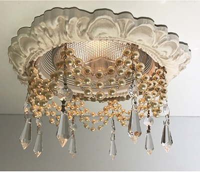 6″ Victorian Recessed Light Chandelier #RC-101-3-Pearls-1.5-UDrops