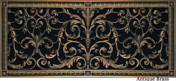 Decorative vent cover in Louis XIV style 12x30 in Antique Brass