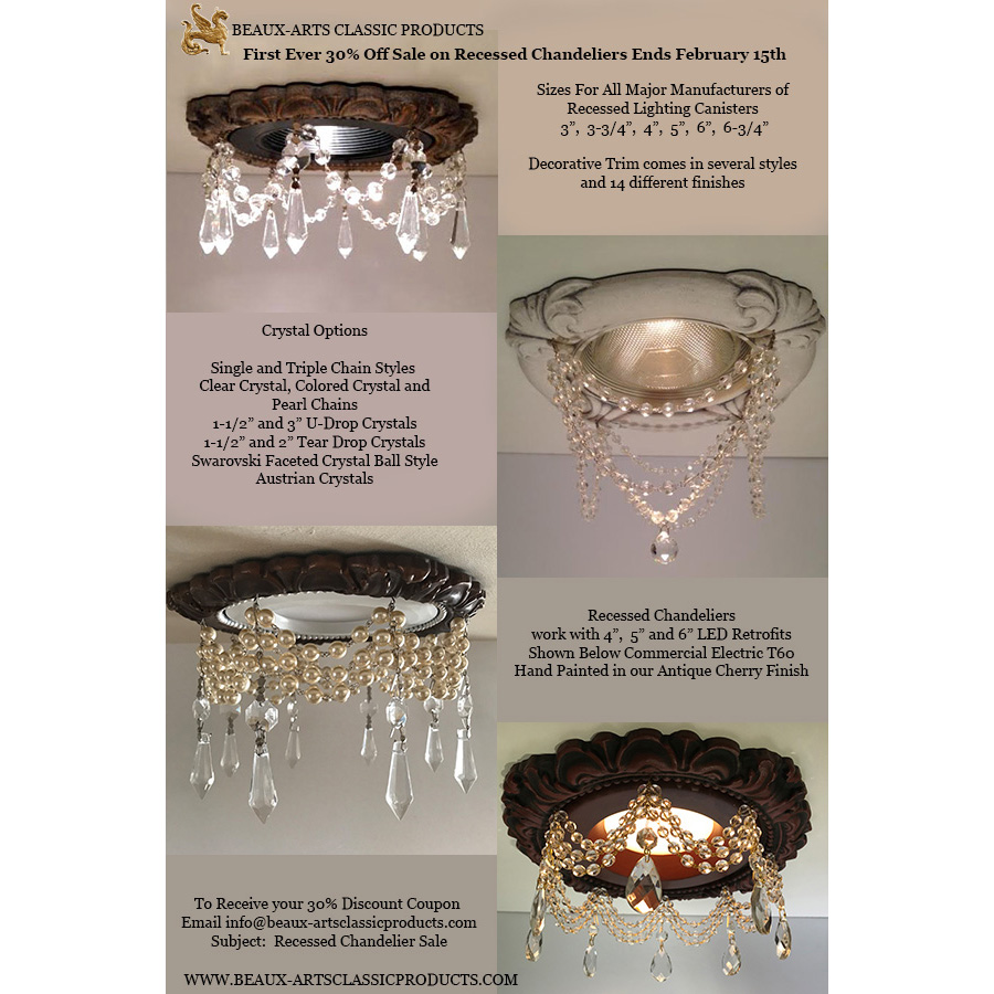 Recessed Light Trims embellished with crystals and pearls