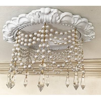 """recessed lighting trim 4 strands of pearls with 1-1/5"""" U-drop crystals"""