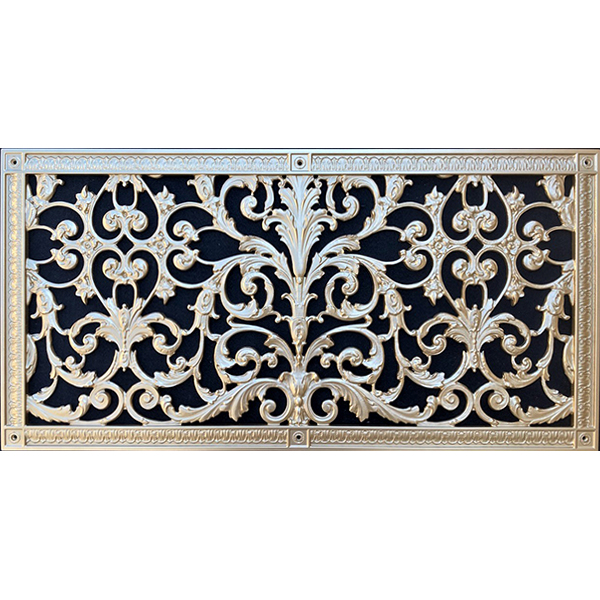"""Decorative grille in Louis XIV Style 14"""" x 30"""" in Bright Gold"""