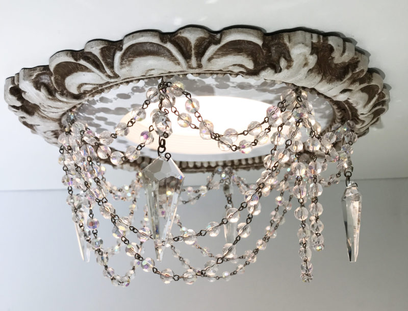 """6"""" Victorian Recessed chandelier with crystal swags and full cut crystals"""