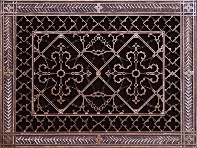 Decorative grille in Arts and Crafts Style in Rubbed Bronze Finish