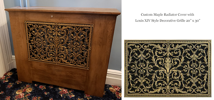 Radiator cover with Louis XIV style decorative grille