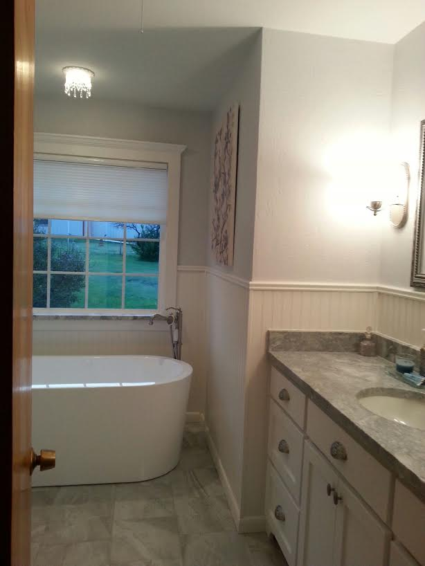 Recessed chandelier over soaking tub