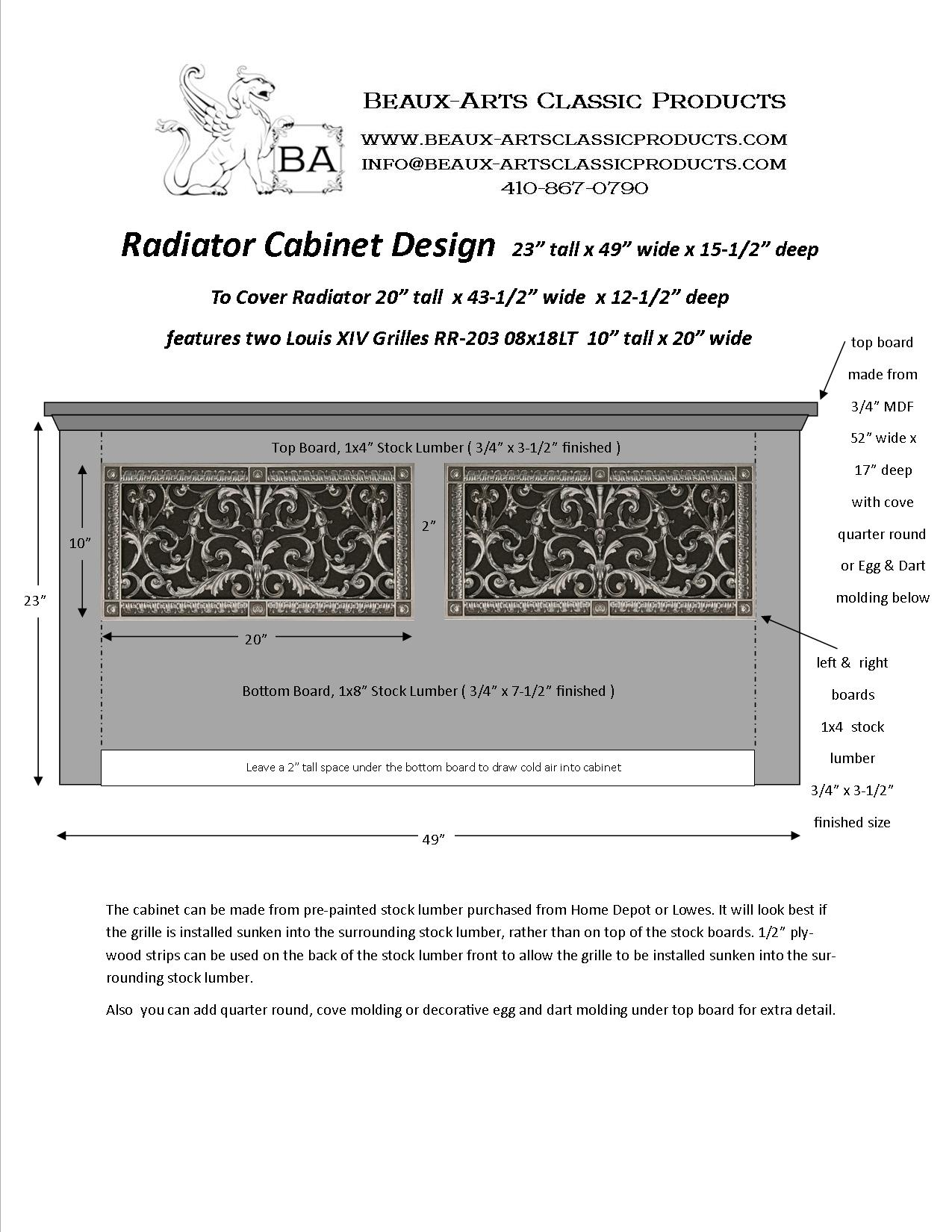 """Radiator Cover Grille 8"""" x 18"""""""