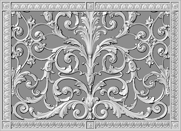"""Louis XIV Style Decorative Grille 14"""" x 20"""" rendering"""