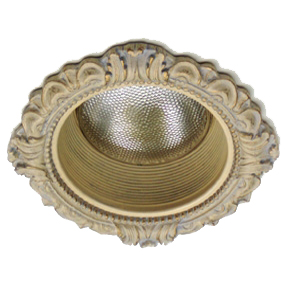LR-101 Victorian Style recessed light trim with an incandescent bulb.