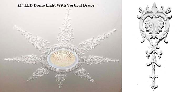 LED Dome Light with vertical drops