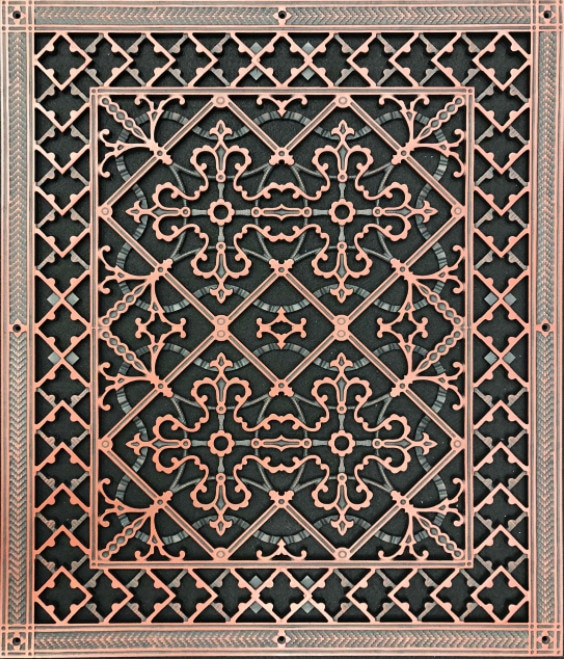 Decorative vent cover in Arts and Crafts Style 20x24 in Antique Cherry finish