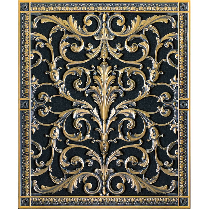 """Decorative Vent Cover French Style Louis XIV 20"""" x 16"""" in Antique Brass"""